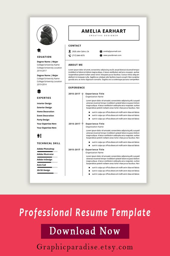 Resume Template Instant Download Professional Resume Etsy Modern Resume Template Free Resume Template Word Resume Templates