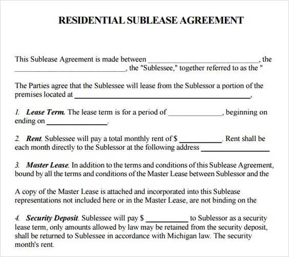 Templates on pinterest for Subletting lease agreement template