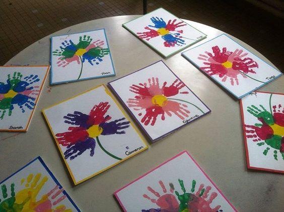 Fleur empreinte main activit e et creation enfants pinterest - Peinture main enfant ...