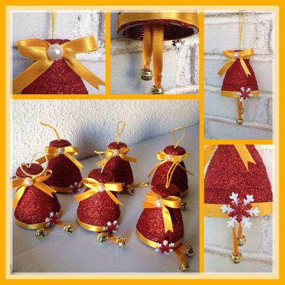 Campanas navide as con botellas de plastico o pet decorada con purpurina cintas y goma eva - Cosas de navidad para hacer en casa ...
