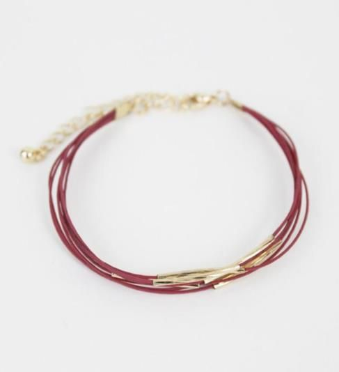 With simple lines and just enough bling, this seven strand bracelet will add the perfect subtle touch to your look. $14