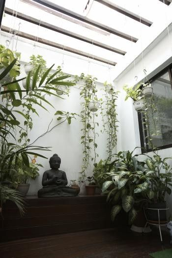 Tranquil area. Hanging plants. I want a sunroom for yoga/meditation!