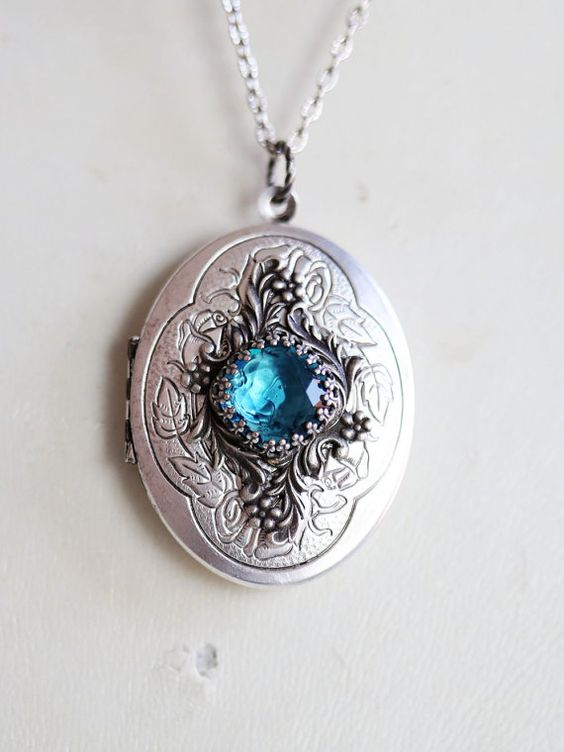 Locket Necklace Blue Topaz Locket Roses Silver Oval