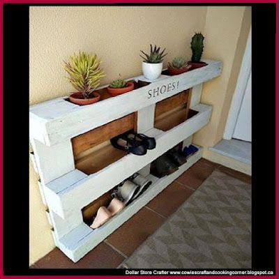 Dollar Store Crafter: Turn A Pallet Into A Shoe Rack:
