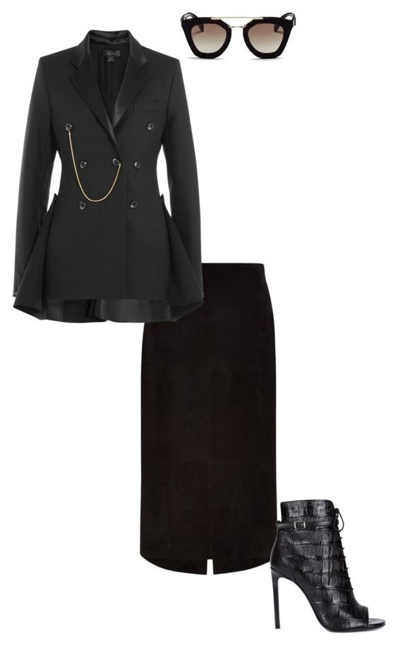 """""""!"""" by patriciad ❤ liked on Polyvore featuring Jaeger, E L L E R Y, Yves Saint Laurent and Prada"""