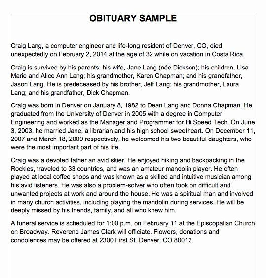 Examples Of Obituaries Well Written Luxury 25 Obituary Templates And Samples Template Lab Obituaries Writing A Eulogy Obituaries Ideas