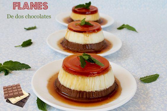 El jardín de mis recetas: FLANES DE DOS CHOCOLATES