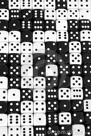 Black and White Dice - I LOVE looking at dice and dominoes. Also marbles. I collect all sorts of unusual and different dice, too.: