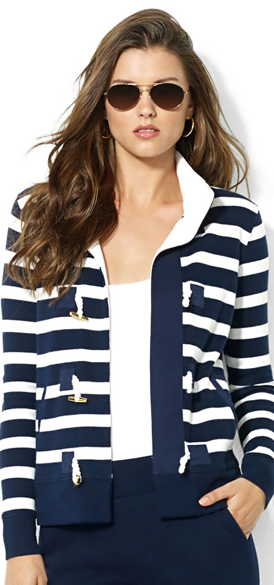 Ralph Lauren ● Striped Toggle Cardigan: