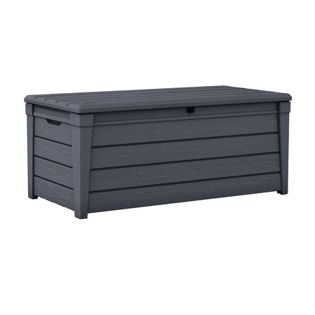 Keter Brightwood Outdoor Plastic Deck Box All Weather Resin Storage 120 Gal Anthracite Gray Walmart Com Deck Box Storage Plastic Outdoor Storage Patio Storage