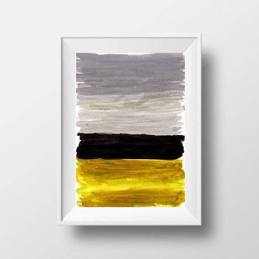 Abstract Simple Minimalist Painting Black Grey Mustard Yellow Minimalist Painting Painting Abstract