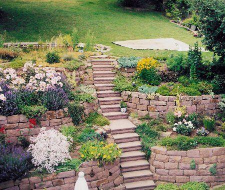 Terassierung mit doppelte Trockenmauer Treppen Pinterest - gartenabgrenzung mit pflanzen