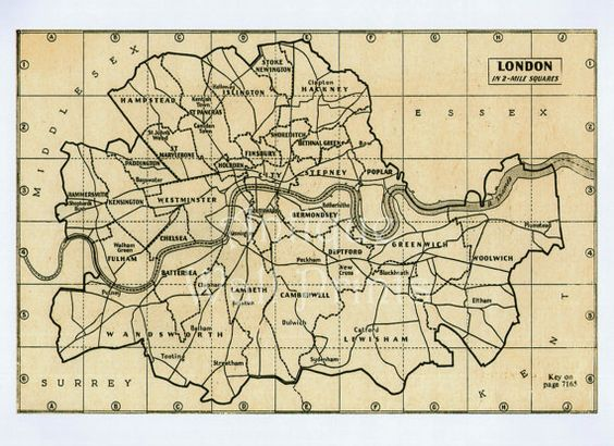 Large London Map Antique Map Poster Print A5 A4 A3 A2 – Large London Map