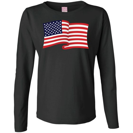 USA Flag In The Wind Show Your Pride Ladies Long Sleeve Tees