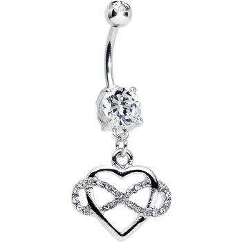 Clear Double CZ Infinite Love Infinity Heart Dangle Belly Ring | Body Candy Body Jewelry #bodycandy