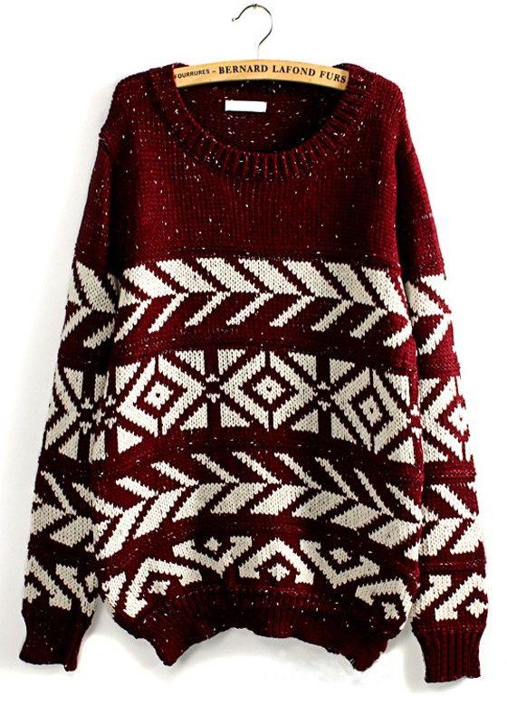 Red Geometric Print Long Sleeve Wool Blend Sweater | Cozy, Snow ...