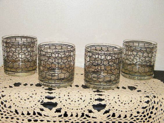 4 George Briard Glass Chicken Wire Rustic Bar Glasses