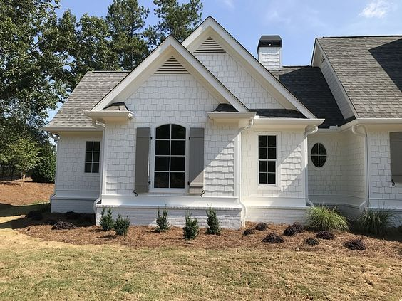 Shingle And Brick Are Painted In Alabaster Sherwin Williams