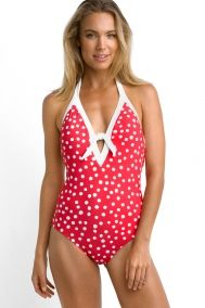 Seafolly Spot On Deep V Maillot Swimsuit - Chilli Red