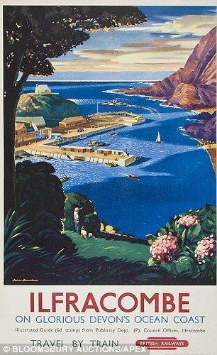 Ilfracombe. Devon, England . Vintage travel beach poster