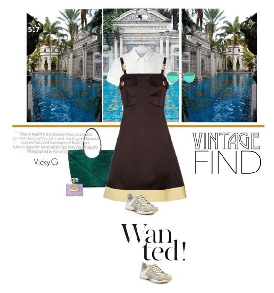 """Set # 517 / Vintage Versace dress ( 90's era )"" by vassiliki-g ❤ liked on Polyvore featuring mode, René Caovilla, Glamorous, Elizabeth and James, Versace en vintage"