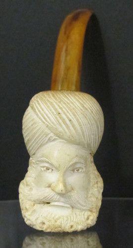 Antique Early Estate Meerschaum Pipe Depiction Turkish Sultan Murad IV Ghazi