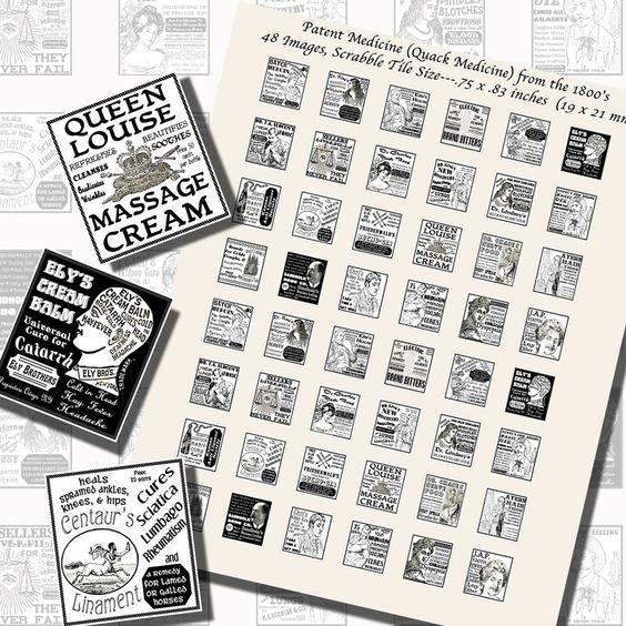 Images,Digital,Stickers,Collage,Illustration,scrabble tile,rectangle,quack,patent,medicine,advertisements,victorian