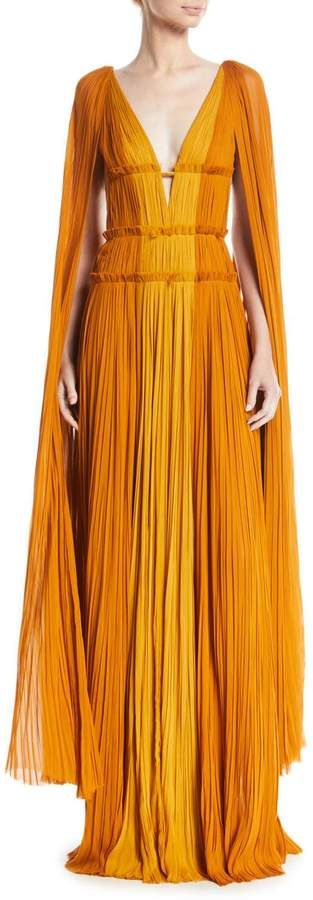 J. Mendel Deep-V Cape-Sleeve Fitted-Waist Colorblock Draped Evening Gown