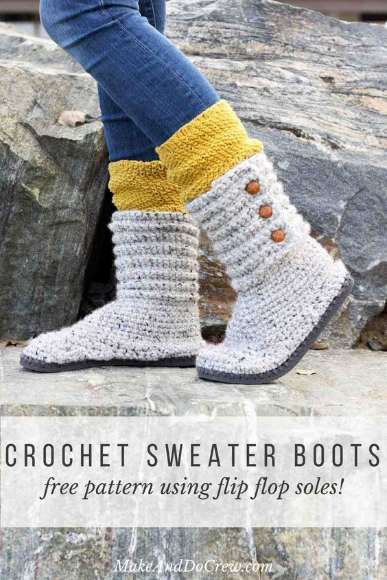 How to Crochet Boots With Flip Flops – Free Pattern + Video ...