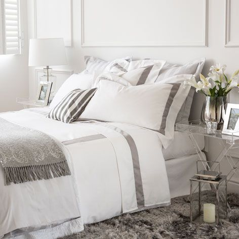 Roupa de cama cetim fita a contrastar macau zara home e - Decoracion de camas zara home ...