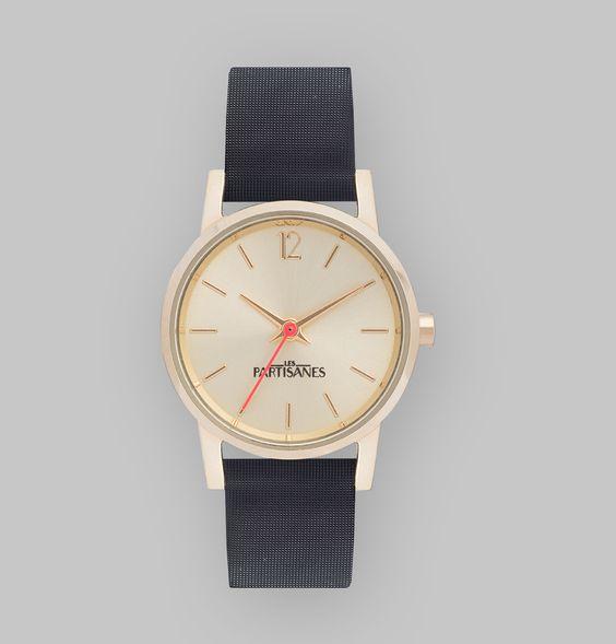 Montre bracelet simple tour en cuir véritable satin noir, bracelet interchangeable,cadran champagne, aiguilles dorées, trotteuse corail, mouvement à quartz japo