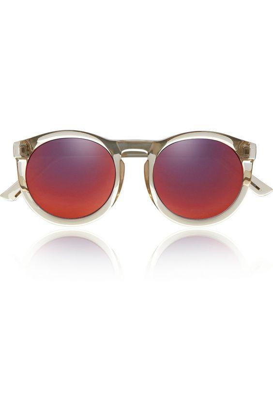 Le Specs|Cheshire round-frame acetate mirrored sunglasses |NET-A-PORTER.COM