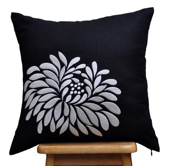 Black Linen Throw Pillows : Gray Black Pillow Cover, Black Linen Light Grey Flower, Embroidered, Flower Cushion, Floral ...