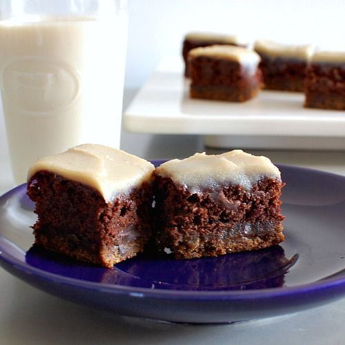 Vanilla Coffee Fudge Bars (with cookie and brownie layers)