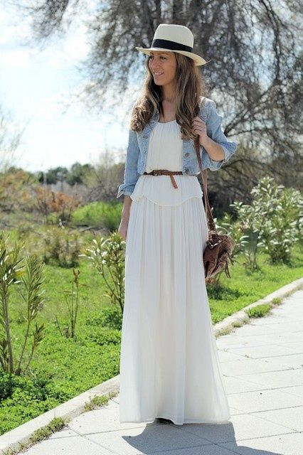 white dress   jean jacket | Spring/Summer Wear | Pinterest ...