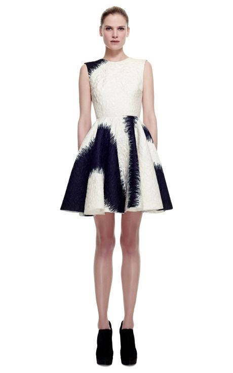 Metallic Stamped Jacquard Dress With Wheel Skirt by Giambattista Valli for Preorder on Moda Operandi