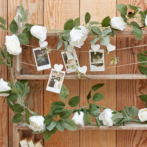 Ginger Ray Garland Flower Party Decoration White And Green
