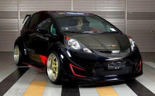 Best Modified Car Racing Custom Black Honda Fit Body Kit In 2020 Honda Fit Honda Fit Jazz Honda Jazz Modified