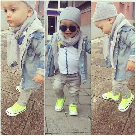 I wouldn't dress my boy in a scarf, but the rest of the outfit is cool.