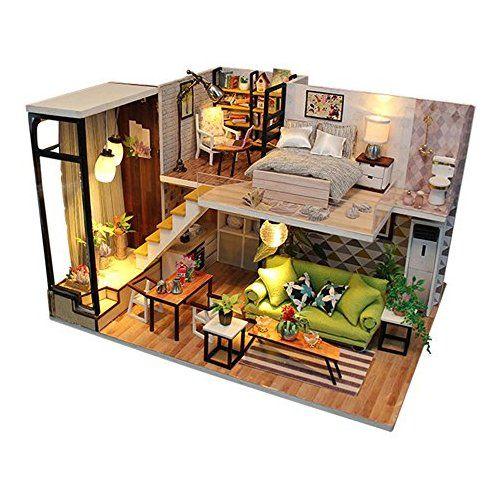 Luerme Maison de Poup/ée Miniature DIY Maison /à Construire Maison Miniature en Kit Mini Maison en Bois Caf/é Jouet D/écoration