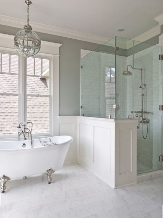 Furniture, : Great Bathroom Decorating Design Ideas With Corner Glass Shower Room Also With White Clawfoot Tub And White Ceramic Shower Wall