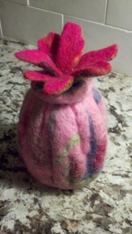 Matilda vase. Pink felted vessel w pink felted flower