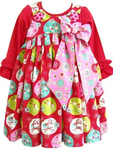 "NEW Girl ""RED JINGLE"" JELLY The PUG Sz 3T bOuTiQuE PUFFY Dress Top CHRISTMAS NWT"