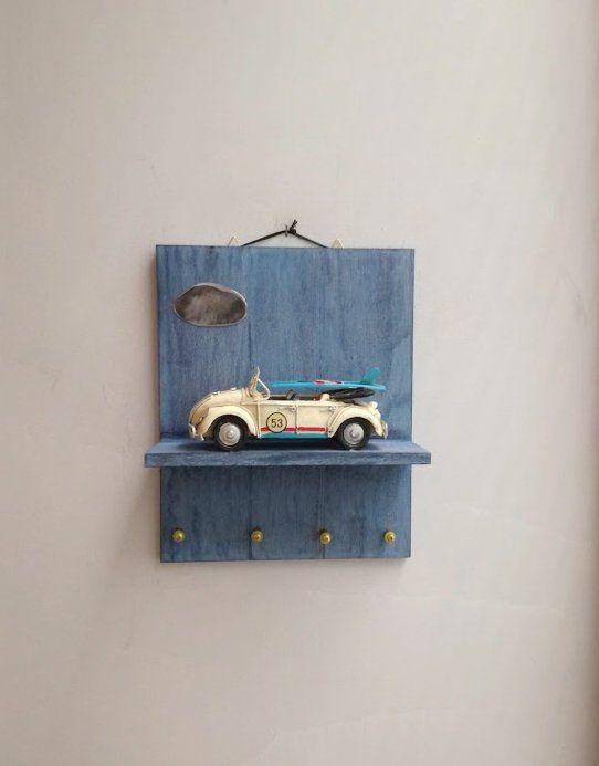 Bug Car Key Organiser Wooden Shelf With Bug Car Miniature Diorama