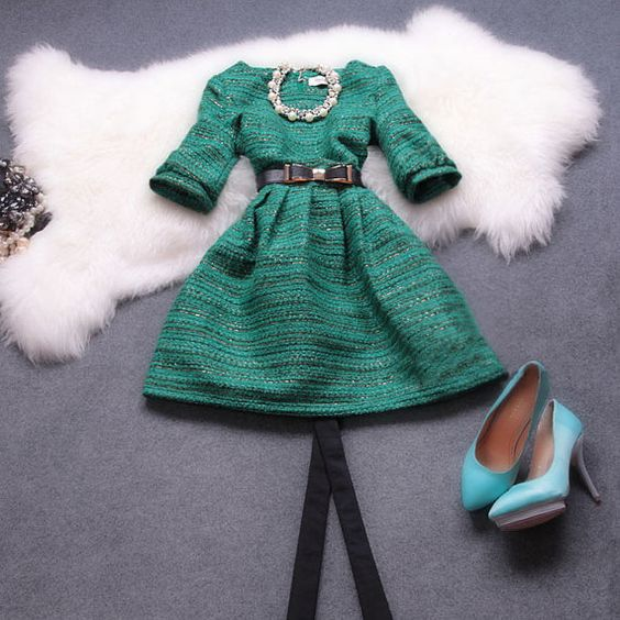 Verde / Camel/rojo / azul marino vestido de por happyfamilyjudy, $89.99