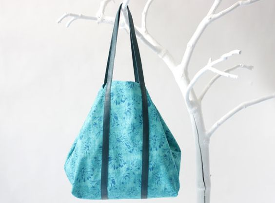 Cotton Shopper in Turquoise with Twin Top Handels in Teal Leather, inner zip pocket, tote bag, shoulder bag, beach bag