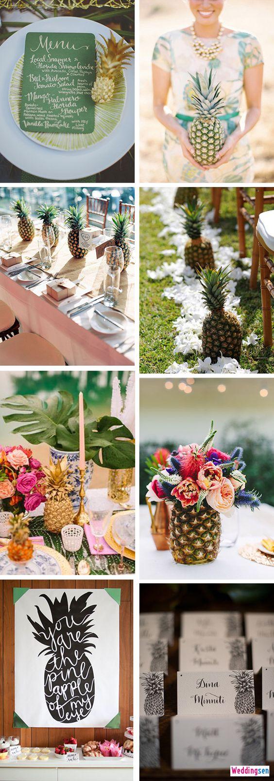 Pineapple Wedding Inspiration + Suggestions - http://www.weddingsen.com/wedding-dress-ideas/pineapple-wedding-inspiration-suggestions.html
