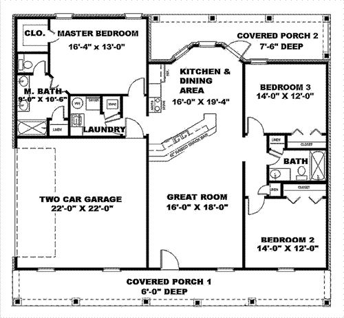 Simple house plans with great room 1500 sq ft house Simple bungalow house plans