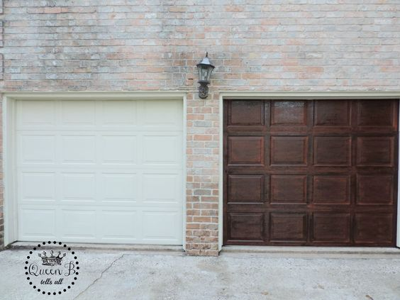 garage door makeover using gel stain
