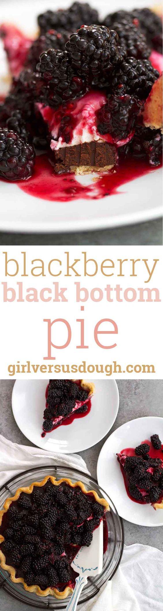 Blackberry Black Bottom Pie -- Layers of dark chocolate, cheesecake and fresh…